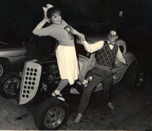 "Publicity photo for the production of ""Grease"".  This was such a fun night in the parking lot of the Olmos Pharmacy with the local car club. Yes, I played the obnoxious cheerleader Patty Simcox!"